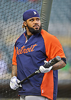 28 September 2012: Detroit Tigers first baseman Prince Fielder awaits his turn in the batting cage prior to a game against the Minnesota Twins at Target Field in Minneapolis, MN. The Twins defeated the Tigers 4-2 in the first game of their 3-game series. Mandatory Credit: Ed Wolfstein Photo