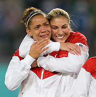 USWNT goalkeeper Hope Solo celebrates the win with her teammate Natasha Kai after playing for the gold medal at Workers' Stadium.  The USWNT defeated Brazil, 1-0, during the 2008 Beijing Olympic final in Beijing, China.
