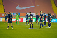 BREDA, NETHERLANDS - NOVEMBER 27: USWNT of the United States during the National anthem during a game between Netherlands and USWNT at Rat Verlegh Stadion on November 27, 2020 in Breda, Netherlands.