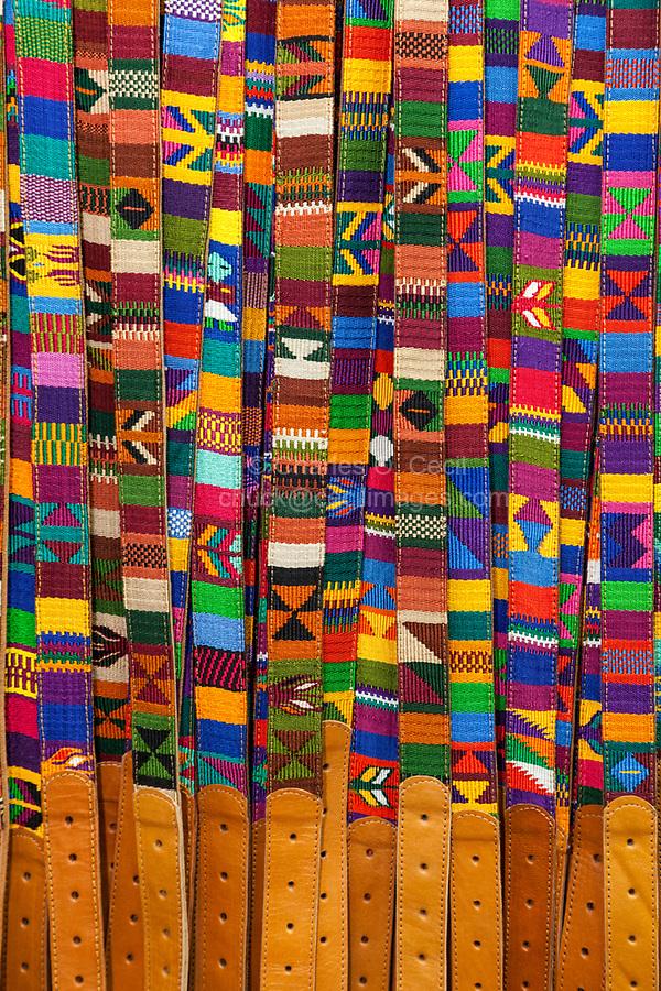 Antigua, Guatemala.  Fabric Belts.  Nim Po't Handicrafts Outlet.