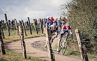 Mathieu Van der Poel (NED/Alpecin-Fenix) & Mads Pedersen (DEN/Trek-Segafredo) leading over the Plugstreets gravel section<br /> <br /> 82nd Gent-Wevelgem in Flanders Fields 2020 (1.UWT)<br /> 1 day race from Ieper to Wevelgem (232km)<br /> <br /> ©kramon