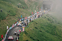 race leader Nairo Quintana (COL/Movistar) up the brutal Col du Portet (HC/2250m/16km at 8.7%/Souvenir Henri Desgrange) in this historically short stage (only 65km)<br /> <br /> Stage 17: Bagnères-de-Luchon > Saint-Lary-Soulan (65km)<br /> <br /> 105th Tour de France 2018<br /> ©kramon