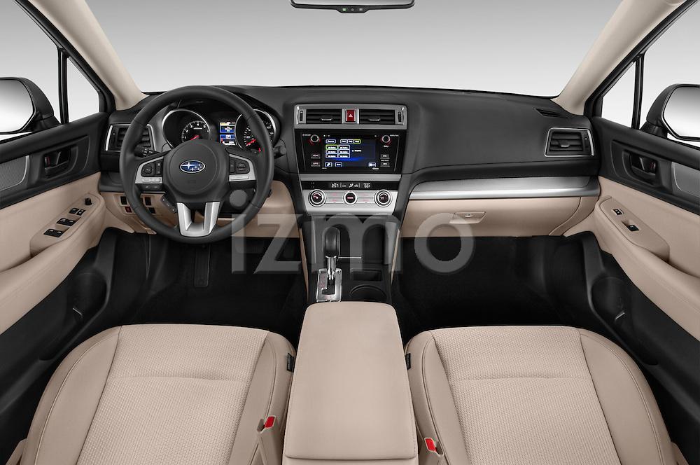Stock photo of straight dashboard view of a 2015 Subaru Outback 2.5i CVT 4 Door Wagon Dashboard