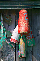 Lobster floats, fishing gear, old shack, Canada