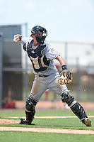 GCL Marlins catcher Blake Anderson (26) throws to first during a game against the GCL Nationals on June 28, 2014 at the Carl Barger Training Complex in Viera, Florida.  GCL Nationals defeated the GCL Marlins 5-0.  (Mike Janes/Four Seam Images)