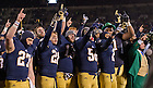 Nov. 23, 2013; The football team sings the Alma Mater after defeating BYU.<br /> <br /> Photo by Matt Cashore