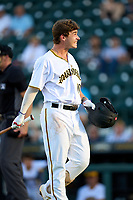 Bradenton Marauders Jackson Glenn (10) reacts after a high and tight pitch during Game Two of the Low-A Southeast Championship Series against the Tampa Tarpons on September 22, 2021 at LECOM Park in Bradenton, Florida.  (Mike Janes/Four Seam Images)