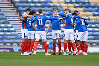 Portsmouth players huddle before kick off during Portsmouth vs MK Dons, Sky Bet EFL League 1 Football at Fratton Park on 10th October 2020
