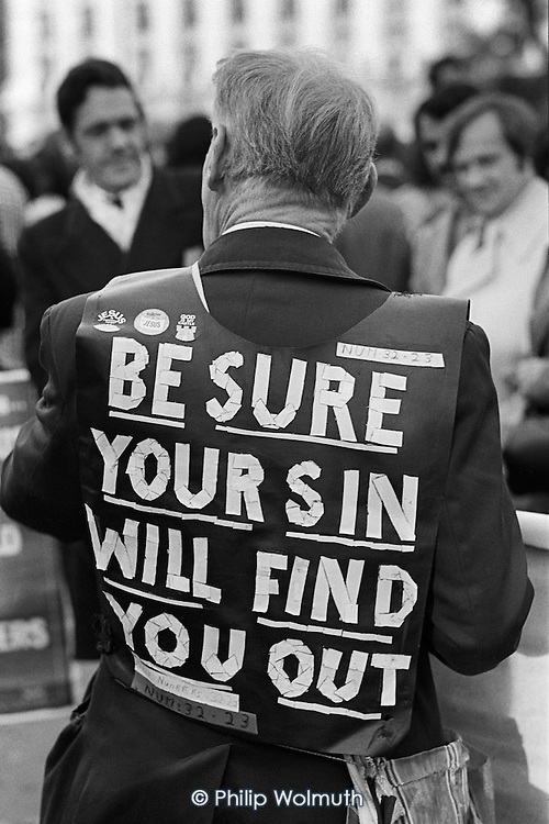 Be Sure Your Sin Will Find You Out.  Christian preacher, Speakers Corner, November 1977.