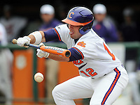 Wilson Boyd unsuccessfully tries to bunt during a game between the Mercer Bears and Clemson Tigers at Doug Kingsmore Stadium on Feb. 24, 2008, in Clemson, S.C. Clemson won 10-3. Photo by:  Tom Priddy/Four Seam Images