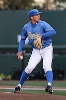 Nick Vander Tuig #21 of the UCLA Bruins pitches against the Oregon Ducks at Jackie Robinson Stadium on April 6, 2012 in Los Angeles,California. Oregon defeated UCLA 8-3.(Larry Goren/Four Seam Images)