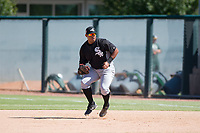 Chicago White Sox first baseman Harvin Mendoza (23) fields a ground ball during an Instructional League game against the Oakland Athletics at Lew Wolff Training Complex on October 5, 2018 in Mesa, Arizona. (Zachary Lucy/Four Seam Images)