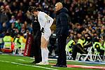 Gareth Bale (L) and Zinedine Zidane (R) coach of Real Madrid during La Liga match between Real Madrid and Real Sociedad at Santiago Bernabeu Stadium in Madrid, Spain. November 23, 2019. (ALTERPHOTOS/A. Perez Meca)