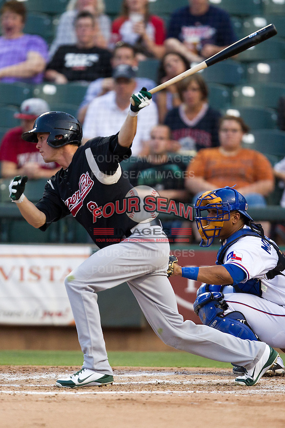 Sacramento River Cats outfielder Grant Green #8 swings during the Pacific Coast League baseball game against the Round Rock Express on May 24, 2012 at the Dell Diamond in Round Rock, Texas. The Express defeated the River Cats 5-3. (Andrew Woolley/Four Seam Images).