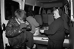 Teenage girls sleeping rough London 1990s. UK. Nuns and helpers from the Catholic Order of The Missionaries of Charity,  provide food and shelter in a nighttime  soup kitchen around London.
