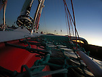 Vision onboard during one of the first test sails of the 105 feet trimaran Sodeb'O, skipper Thomas Coville..Designed by Nigel Irens and Benoît Cabaret, the maxi-Sodeb'O been built and launched in Australia in June 2007, this 32 m long three hulled machine (105 feet) and 16.55 m wide (55 feet) craft is equipped with a 35 m mast and can carry up to 650 square metres of sail area..