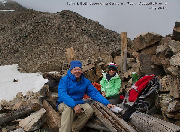 John and Beth below Mount Democrat and Cameron Peak, Mosquito Range, Colorado