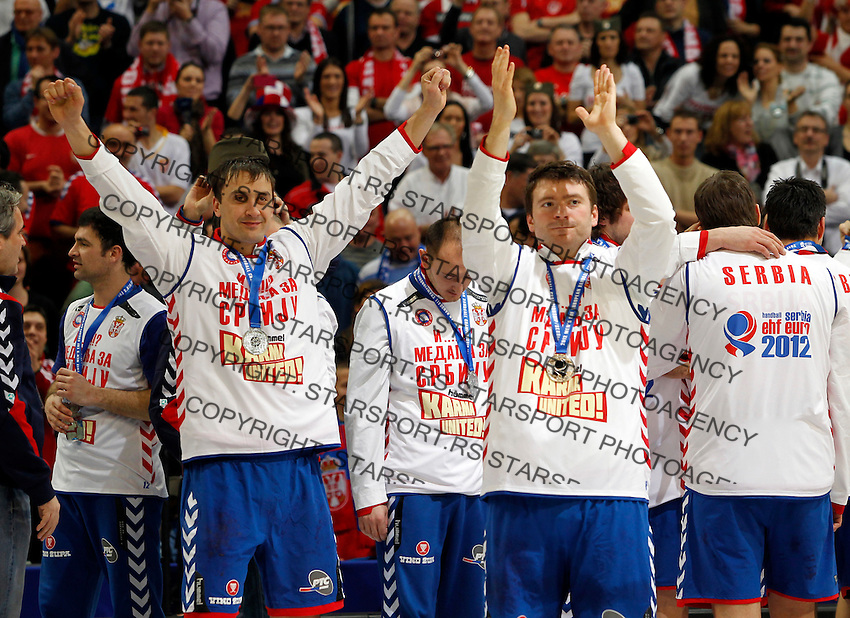 Second placed Serbian national handball team players Momir Ilic and Rastko Stojkovic after men`s EHF EURO 2012 handball championship  in Belgrade, Serbia, Sunday, January 29, 2011.  (photo: Pedja Milosavljevic / thepedja@gmail.com / +381641260959)