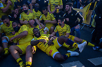 2nd May 2021; Stade Marcel-Deflandre, La Rochelle, France. European Champions Cup Rugby La Rochelle versus Leinster Semi-Final; Stade Rochelais  outside the stadium celebrating with the fans