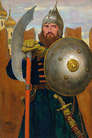 On guard by Vasnetsov, Viktor Mikhaylovich (1848-1926) / Private Collection / 1914 / Russia / Oil on canvas / Genre,History / 64x43,7 / History painting