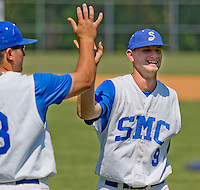 Shortstop Bruce Caldwell (9) of the Spartanburg Methodist College in a game against Stanly Community College on April 25, 2012, in Spartanburg, South Carolina. SMC won 17-2. Caldwell was named 2012 NJCAA Region 10 baseball player of the year. (Tom Priddy/Four Seam Images)