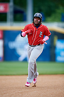 New Hampshire Fisher Cats third baseman Vladimir Guerrero Jr. (27) rounds the bases during the first game of a doubleheader against the Harrisburg Senators on May 13, 2018 at FNB Field in Harrisburg, Pennsylvania.  New Hampshire defeated Harrisburg 6-1.  (Mike Janes/Four Seam Images)