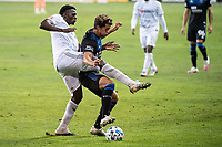SAN JOSE, CA - NOVEMBER 04: Jesus David Murillo #94 of the Los Angeles FC tackles Cade Cowell #44 of the San Jose Earthquakes during a game between Los Angeles FC and San Jose Earthquakes at Earthquakes Stadium on November 04, 2020 in San Jose, California.