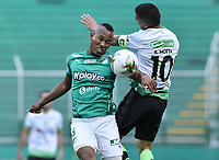 PALMIRA - COLOMBIA, 07-10-2020: Andres Balanta del Cali disputa el balón con Stalin Motta del Equidad durante partido entre Deportivo Cali y La Equidad por la fecha 12 de la Liga BetPlay DIMAYOR I 2020 jugado en el estadio Deportivo Cali de la ciudad de Palmira. / Andres Balanta of Cali vies for the ball with Stalin Motta of Equidad during match between Deportivo Cali and La Equidad for the date 12 as part of BetPlay DIMAYOR League I 2020 played at Deportivo Cali stadium in Palmira city.  Photo: VizzorImage / Gabriel Aponte / Staff