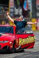 May 4, 2019; Commerce, GA, USA; NHRA pro mod driver Alex Laughlin reacts during qualifying for the Southern Nationals at Atlanta Dragway. Mandatory Credit: Mark J. Rebilas-USA TODAY Sports