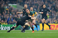 Jesse Kriel of South Africa is tackled by Ben Smith of New Zealand during the Semi Final of the Rugby World Cup 2015 between South Africa and New Zealand - 24/10/2015 - Twickenham Stadium, London<br /> Mandatory Credit: Rob Munro/Stewart Communications
