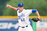 Burlington Royals relief pitcher Ben Tomchick (62) in action against the Danville Braves at Burlington Athletic Park on July 18, 2012 in Burlington, North Carolina.  The Royals defeated the Braves 4-3 in 11 innings.  (Brian Westerholt/Four Seam Images)