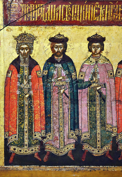 Saint Vladimir the Great with Saints Boris and Gleb (from left to right) depicted in the detail of the Russian icon of the Yaroslavl icon painting school dated from the 1640s from the Dormition Cathedral in Yaroslavl, now on display in the Yaroslavl Museum Preserve in Yaroslavl, Russia.