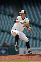 Sam Houston State Bearkats relief pitcher Kyle Backhus (19) in action against the Vanderbilt Commodores in game one of the 2018 Shriners Hospitals for Children College Classic at Minute Maid Park on March 2, 2018 in Houston, Texas. The Bearkats walked-off the Commodores 7-6 in 10 innings.   (Brian Westerholt/Four Seam Images)