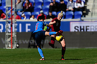 HARRISON, NJ - MARCH 08: Shiori Miyake #3 of Japan and Bethany England #9 of England battle for the ball during a game between England and Japan at Red Bull Arena on March 08, 2020 in Harrison, New Jersey.