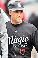 Birmingham Barons manager Omar Vizquel (13) during a game against the Tennessee Smokies at Smokies Stadium on May 15, 2019 in Kodak, Tennessee. The Smokies defeated the Barons 7-3. (Tony Farlow/Four Seam Images)
