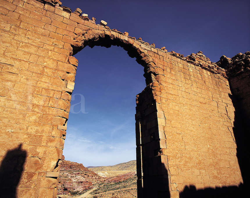 Arched ceremonial doorway to the Roman temple of Dushares, Petra, Jorda