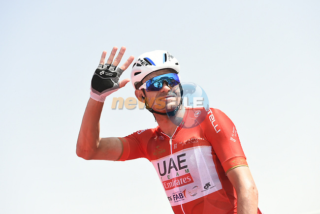Race leader Red Jersey Alexander Kristoff (NOR) UAE Team Emirates at sign on before the start of Stage 2 of the 2018 Abu Dhabi Tour, Yas Island Stage running 154km from Yas Mall to Yas Beach, Abu Dhabi, United Arab Emirates. 22nd February 2018.<br /> Picture: LaPresse/Fabio Ferrari | Cyclefile<br /> <br /> <br /> All photos usage must carry mandatory copyright credit (© Cyclefile | LaPresse/Fabio Ferrari)