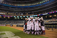 The Maryland Terrapins huddle prior to a 2015 Big Ten Conference Tournament game between the Maryland Terrapins and Michigan State Spartans at Target Field on May 20, 2015 in Minneapolis, Minnesota. (Brace Hemmelgarn/Four Seam Images)