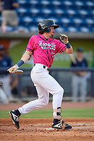 Pensacola Blue Wahoos Jordan Gore (10) at bat during a Southern League game against the Mobile BayBears on July 25, 2019 at Blue Wahoos Stadium in Pensacola, Florida.  Pensacola defeated Mobile 2-1 in the first game of a doubleheader.  (Mike Janes/Four Seam Images)