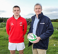 Ulster Schools U18 | Saturday 5th September 2015<br /> <br /> Ulster Schools U18 Squad 2015-2016<br /> Dalriada player Alan Montgomery with Danske Bank representative Mark Beattie at a recent training session at Newforge Country Club in Belfast. Photo : John Dickson - DICKSONDIGITAL