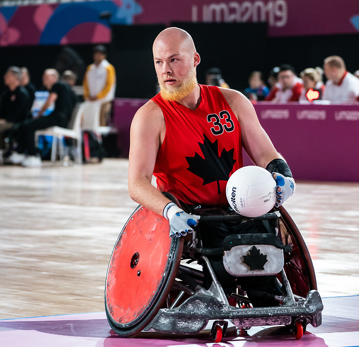 Zak Madell, Lima 2019 - Wheelchair Rugby // Rugby en fauteuil roulant.<br /> Canada takes on Argentina in wheelchair rugby // Le Canada affronte l'Argentine au rugby en fauteuil roulant. 23/08/2019.