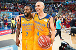 Herbalife Gran Canaria's players Bo McCalebb and Albert Oliver during the final of Supercopa of Liga Endesa Madrid. September 24, Spain. 2016. (ALTERPHOTOS/BorjaB.Hojas)