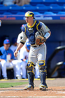 Michigan Wolverines catcher Cole Martin #46 during an exhibition game against the New York Mets at Tradition Field on February 24, 2013 in St. Lucie, Florida.  New York defeated Michigan 5-2.  (Mike Janes/Four Seam Images)