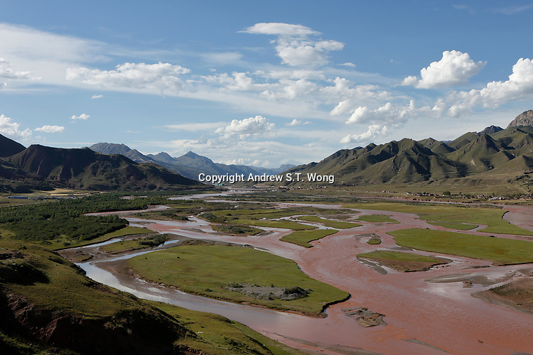 Nangqen County, Yushu Tibetan Autonomous Prefecture, Qinghai Province, China - The upper reach of Lancang River, August 2019.  As the upper reach of Mekong River basin, Lancang River is of great importance not only to southwestern China but also to the rest of Southeast Asia.