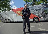 17th May 2020,Stadion An der Alten Försterei, Berlin, Germany; Bundesliga football, FC Union Berlin versus Bayern Munich;  Team bus of 1 FC Union Berlin arrives at the stadium as  Police guard the entrance