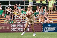 NEWTON, MA - MAY 22: Belle Smith #5 of Boston College looks to pass during NCAA Division I Women's Lacrosse Tournament quarterfinal round game between Notre Dame and Boston College at Newton Campus Lacrosse Field on May 22, 2021 in Newton, Massachusetts.