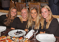Moskou, Russia, Februari 4, 2016,  Fed Cup Russia-Netherlands,  Official Dinner, Dutch team  ltr: Cindy Burger, Kiki Bertens, Arantxa Rus and Richel Hogenkamp<br /> Photo: Tennisimages/Henk Koster