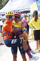 TUNJA - COLOMBIA, 15-02-2020: Sergio Higuita (COL),  Jonathan caicedo (ECU) EF EDUCATION FIRST, durante la quinta etapa del Tour Colombia 2.1 2020 con un recorrido de 180,5 km que se corrió entre Paipa, Boyacá, y Zipaquirá, Cundinamarca. / Sergio Higuita (COL), Jonathan Caicedo (ECU) EF EDUCATION FIRST, during the fifth stage of 180,5 km as part of Tour Colombia 2.1 2020 that ran between Paipa, Boyaca, y Zipaquirá, Cundinamarca.  Photo: VizzorImage / Darlin Bejarano / Cont