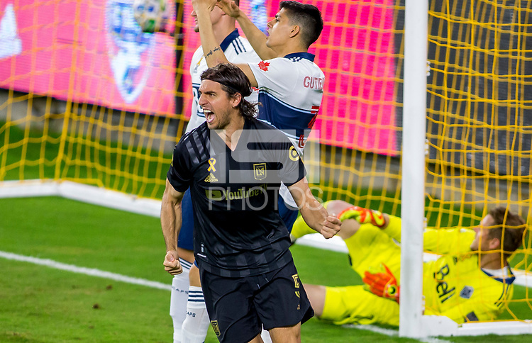 LOS ANGELES, CA - SEPTEMBER 23: Dejan Jakovic #5 of LAFC scores his goal and celebrates at banc of California stadium on September 23, 2020 in Los Angeles, California.