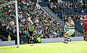 :: ABERDEEN'S JAMIE LANGFIELD CAN'T STOP CELTIC'S CHARLIE MULGREW'S FREE KICK GOING IN AT THE BACK POST FOR CELTIC'S FIRST ::
